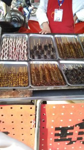 Look delicious, don't they? And yes, those are spiders, scorpions and centipedes, all on a stick.