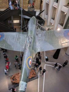 A supermrine Spitfire suspended at the Imperial War Museum