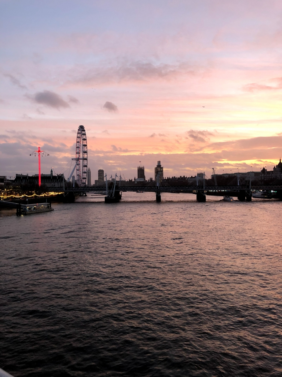 A quick shot of the London Eye at sunset in December 2018. We haven't visited it yet, but it's on the list.
