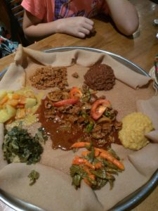 Platter of Ethiopian food