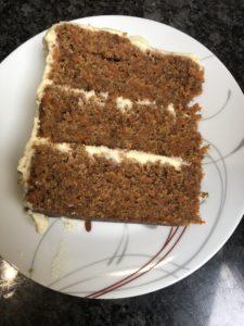 A slice of homemade carrot cake